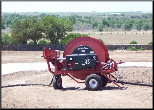 T210P model waterreel positioned on new cemetery site overlooking old Ft. Dodge cemetery.