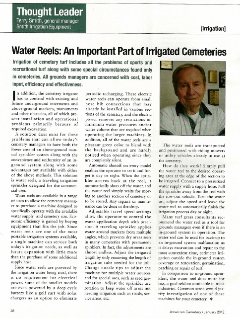 Amercan Cemetery Magazine Article by Smith Irrigation Equipment