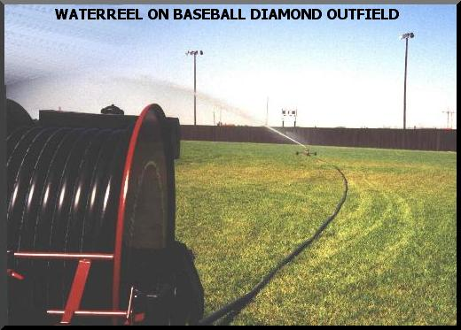 water reel traveling sprinkler irrigate ball diamonds