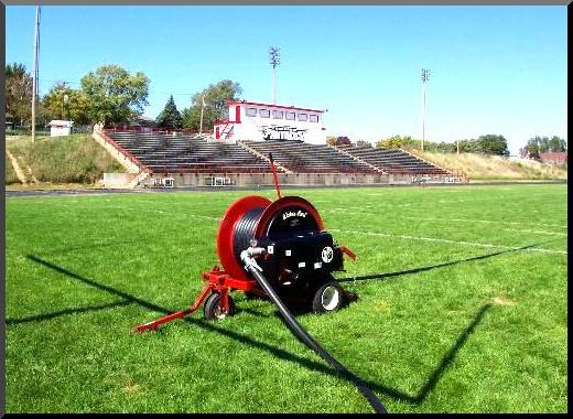 waterreel self traveling irrigation systems on soccer fields
