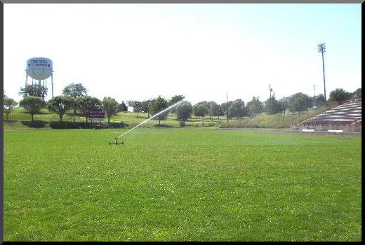 sports field irrigation with traveling sprinklers