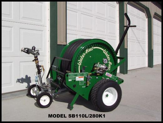 NEW MODEL SB110L/280K1 WATERREEL TRAVELING SPRINKLER SYSTEM.
