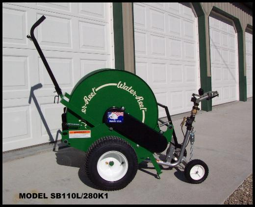 New model SB110L/280 waterreel traveling sprinker can water arenas up to 300 ft long.