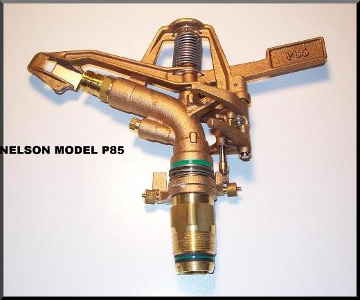 Nelson P85 sprinkler available on SB140, ST140, and ST180 waterreels and on SSW125 sprinkler stands.