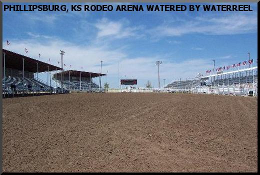Waterreels provide dust control on large arenas
