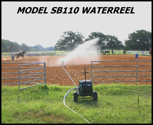 Model SB110 waterreel applies water to outdoor riding arena.