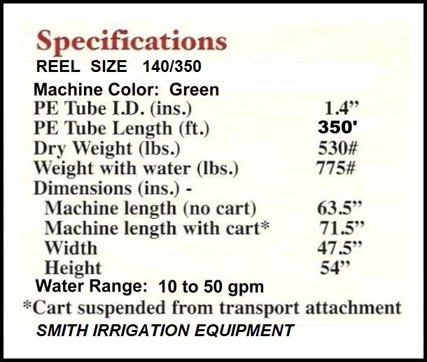 Click on specifications for picture and description of model SB140 waterreels.