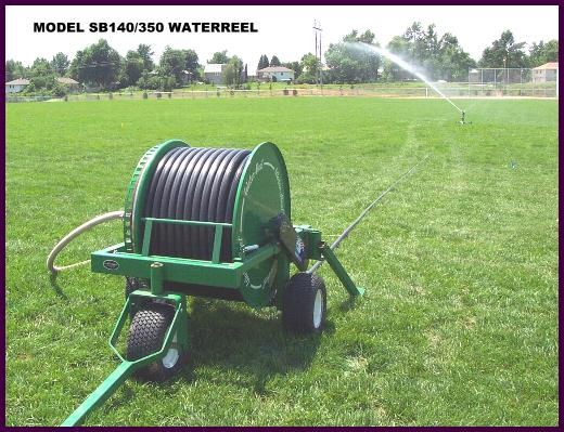 Waterreel traveling sprinkler irrigates sports fields.