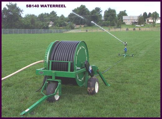 New model SB140/350K1 waterreel irrigates new sod on sports field.
