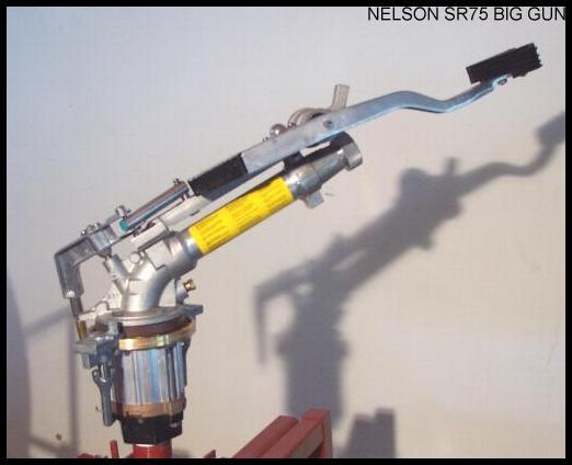 Nelson SR75 slow reverse Big Gun sprinkler available on ST180, ST200, ST210, SE200, and SE210 waterreels plus SSW200 sprinkler stands.