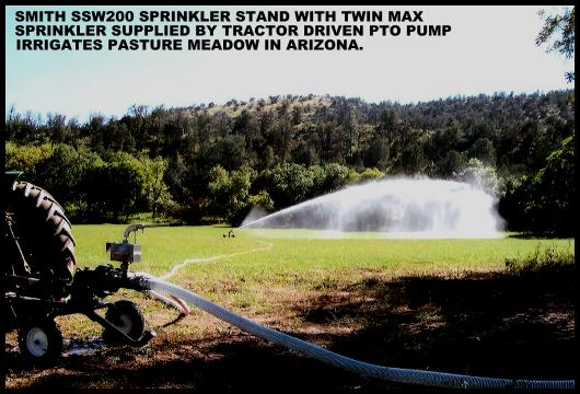 Twin Max performance volume sprinkler on Smith Irrigation stand with PTO pump supply.