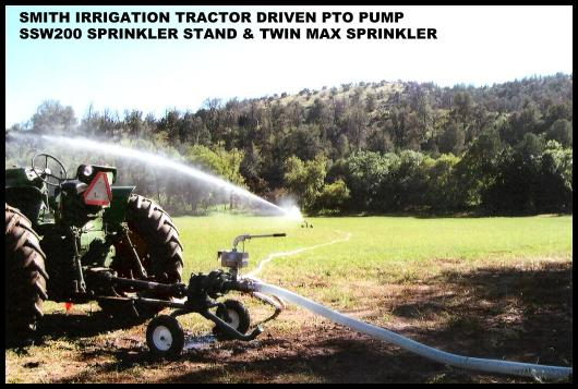 Tractor driven PTO pumps supplies Twin Max sprinkler on SSW200 stand for pasture meadow.