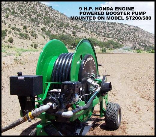 Model ST200/580 waterreel irrigates freshly seeded pasture area in New Mexico.