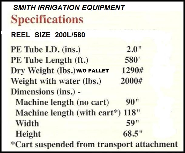 SMITH IRRIGATION TRAVELING IRRIGATION SPRINKLER SIZE 2.00X580