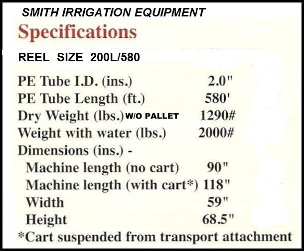 SMITH IRRIGATION TRAVELING IRRIGATION SPRINKLER SIZE 2.00X580