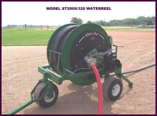 New model ST200S/320 Waterreel traveling sprinkler for single pass irrigation on sports fields.