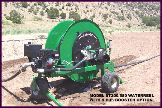 Model ST200/580 waterreel with 9 H.P. Honda  booster pump irrigates new seeded hay field.