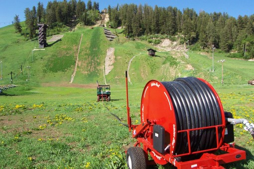 Smith Irrigation's model ST200 waterreel being used on ski slopes at Steamboat Springs, Co.