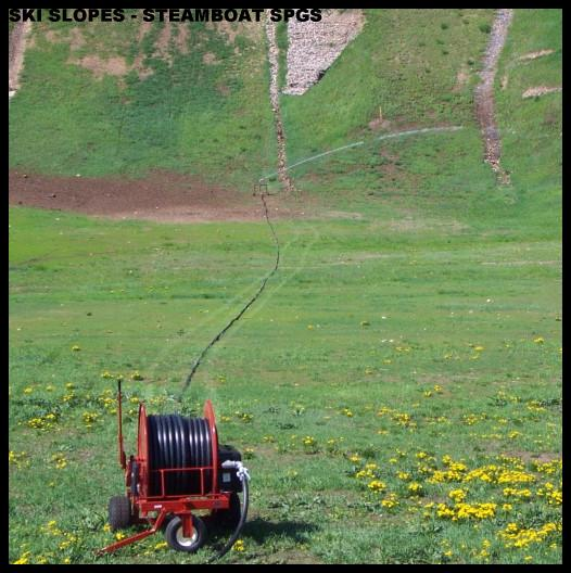 Model ST200 waterreel irrigates bottom of ski slopes at Steamboat Springs, Co. for Parks and Recreation.