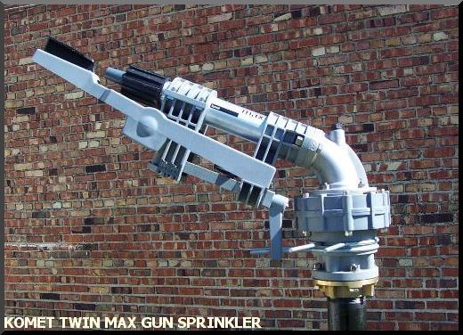 Komet Twin Max Gun sprinkler standard equipment on ST180, ST200, ST210, SE200, SE210  and optional on SB140 and ST140 waterreels. Also used on SSW200 sprinkler stands.