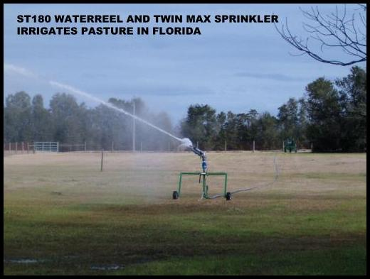 Waterreel irrigates pastures with Twin Max volume sprinkler