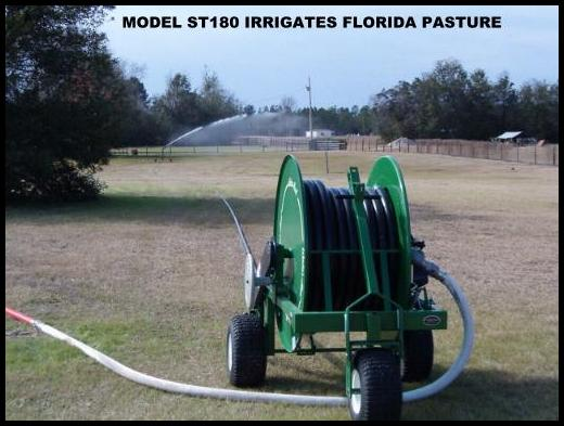 New model ST180 waterreel irrigates wooded Florida pastures.